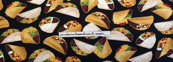 Tacos! Soft tacos and crunchy tacos all over black. Timeless Treasures GM - C6957 - Fabric by the yard.