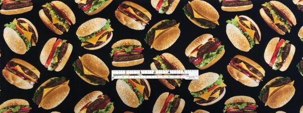Burgers! Hamburgers and cheeseburgers all over black. Timeless Treasures - C6995 - Fabric by the yard.