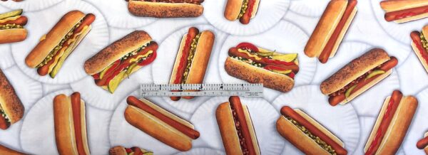 Hot dogs on paper plates all over white. Chicago dog. Chow Time by R. Kaufman 19783 - Fabric by the yard.