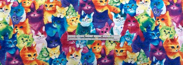 Multicolor rainbow kitty cats. Cat Multi by Timeless Treasures C7485 - Fabric by the yard