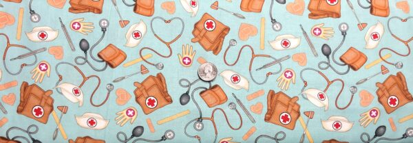Nurse and Doctor fabric. Leather medical bag, stethoscope bandaids and more. What the Dr. Ordered by QT 24926 Q - Fabric by the yard