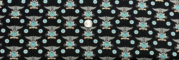 Nurse insignia pin. Teal, black and grey. What the Dr. Ordered by QT 24927 JQ - Fabric by the yard