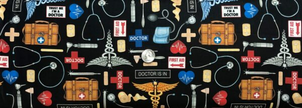 Medical supplies all over black. Stethoscope, ace bandage, bandaids and more. What the Dr. Ordered by QT 24928 J- Fabric by the yard