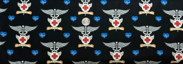 Doctor insignia pin. Blue, black and grey. What the Dr. Ordered by QT 24929 J - Fabric by the yard