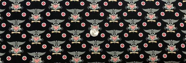 Nurse insignia pin. Pink, black and grey. What the Dr. Ordered by QT 24927 JP - Fabric by the yard