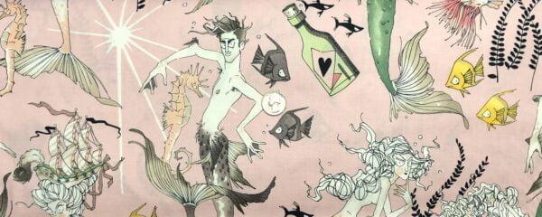Ghastlie mermen and mermaids all over light pink. Ghantis Ghastlie by Alexander Henry DE# 8791 DR - fabric by the yard