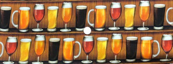Beer glasses in a row. Different beer glasses and types of beer in a row. Cheers by R. Kaufman 19037 - 203 celebration. One yard of fabric
