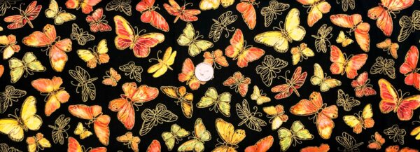 Butterflies in orange, green, red and yellow with metallic gold on black. Nature by Timeless Treasures CM8282 - Fabric by the yard