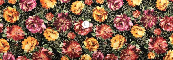 Roses in orange, purple, red and yellow and metallic gold on black. Nature by Timeless Treasures CM8281 - Fabric by the yard