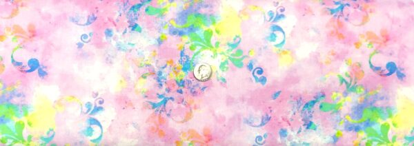 Florals in blue, green, yellow and more on pale pink and purple tonals. Butterfly Dreams by P & B 4362 - Fabric by the yard