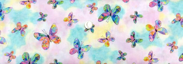 Butterflies in blue, pink, green, yellow and more on tonal blue and pink. Butterfly Dreams by P & B 4360 - Fabric by the yard