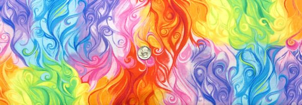 Beautiful bright water swirls in pink, blue, yellow, orange and purple. Blossom by Timeless Treasures c7943 - Fabric by the yard