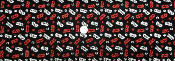 Star Wars fabric. Star Wars icons in red and white on black. SW tossed icons. Camelot Fabrics 73090221 - Fabric by the yard