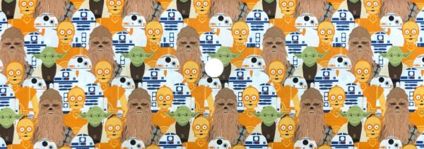 Star Wars fabric. Chewbacca, Yoda, C3PO, BB8 and R2D2 on white. SW stacked. Camelot Fabrics 73011104 - Fabric by the yard