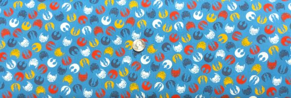 Star Wars fabric. Lucas Logos and Masks on blue. Camelot Fabrics 73011107 - Fabric by the yard