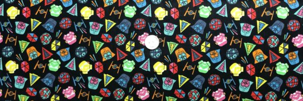 Star Wars fabric. Star Wars icons in rainbow tossed on black. Camelot Fabrics 73011101 - Fabric by the yard