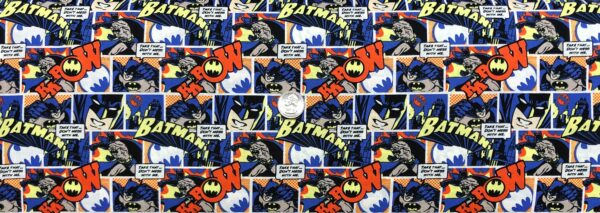 Batman and Robin fabric. Batman and Robin comics strip in blues, yellow, black and white. Camelot Fabrics 23200124 - Fabric by the yard