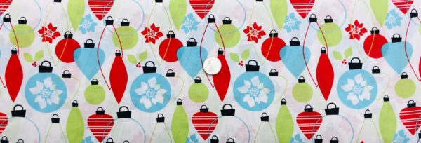 Christmas ornaments all over white. Red, blue and green Christmas ornaments. 14505 - 1 Yard of Fabric