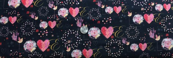 Valentines Day hearts, flowers and LOVE all over black. All My Love by Quilting Treasures 27526 - Fabric by the yard