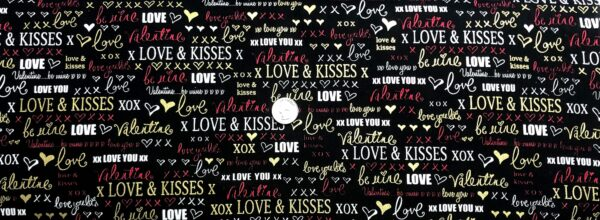 Valentines Day words in black, white and pink all over. Cherish by Kanvas Studios 8961M - Fabric by the yard.