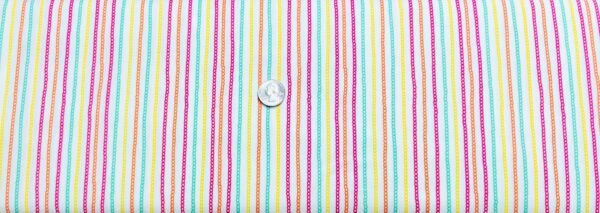 Squiggly stripes in multicolor pink, orange, green, yellow on white. Inspirations by Waverly 76008 - Fabric by the yard.