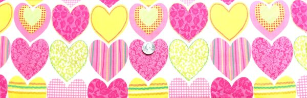 Hearts in multicolor pink, orange, green, yellow on white. Inspirations by Waverly 76012 - Fabric by the yard.