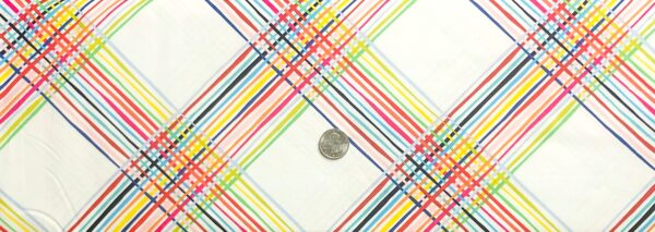 Multicolored plaid all over white. Happy by Clothworks Y2877 - fabric by the yard