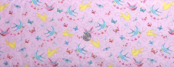 Valentines Day birds and butterflies on tonal pink with hearts. Heart and Soul by Henry Glass 9438 - Fabric by the yard