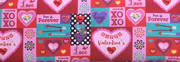 Valentines Day cards all over. Red, pink, purple and black and white polka dots. Love is Forever by Studio E 4931 - Fabric by the yard