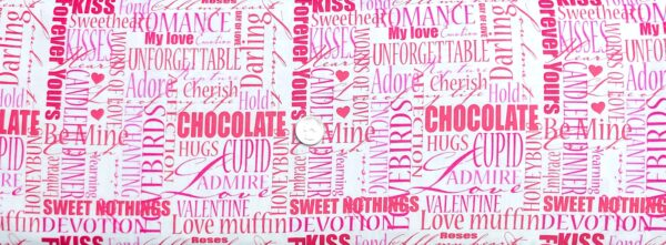 Valentines Day words in pink all over white. Cherish, muffin, embrace and more. Love Letters by Henry Glass 1861 - Fabric by the yard