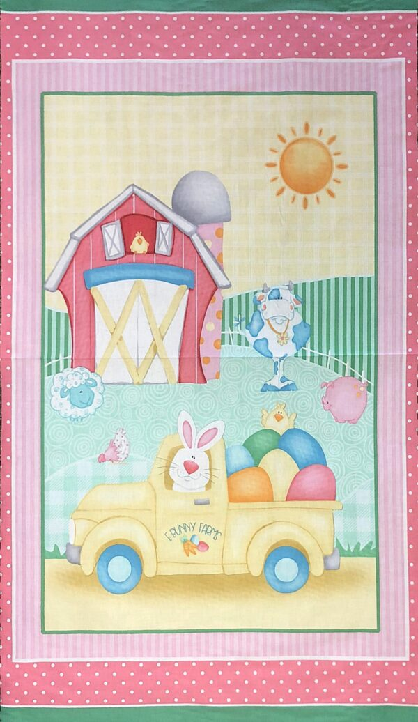 Easter Bunny panel complete with bunnies, barn and a yellow pick up. Down on the Bunny Farm by Henry Glass 1843 P. - 5/8 yard or 23""