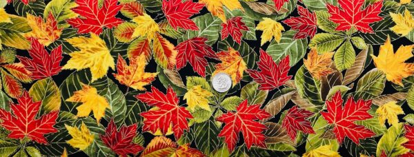 Multicolored Falls leaves all over black. Autumn leaves. Harvest by Timeless Treasures CM7086 - Fabric by the yard