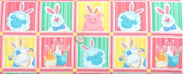 Easter bunnies, cows, sheep, pigs and chickens in pastels and squares. Down on the Bunny Farm by Henry Glass 1840 - Fabric by the yard.