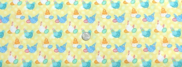 Easter chickens and eggs all over tonal yellow egg dots. Down on the Bunny Farm by Henry Glass 1845 - Fabric by the yard.