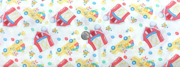 Easter bunnies, trucks and barns all over white. Down on the Bunny Farm by Henry Glass 1844 - Fabric by the yard.