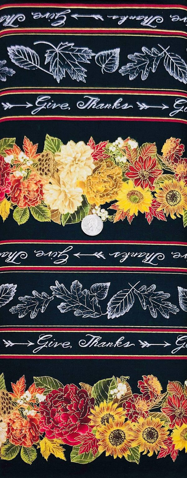 Warm fall flowers in a stripe design on black. Harvest by Timeless Treasures CM7088 - Fabric by the yard