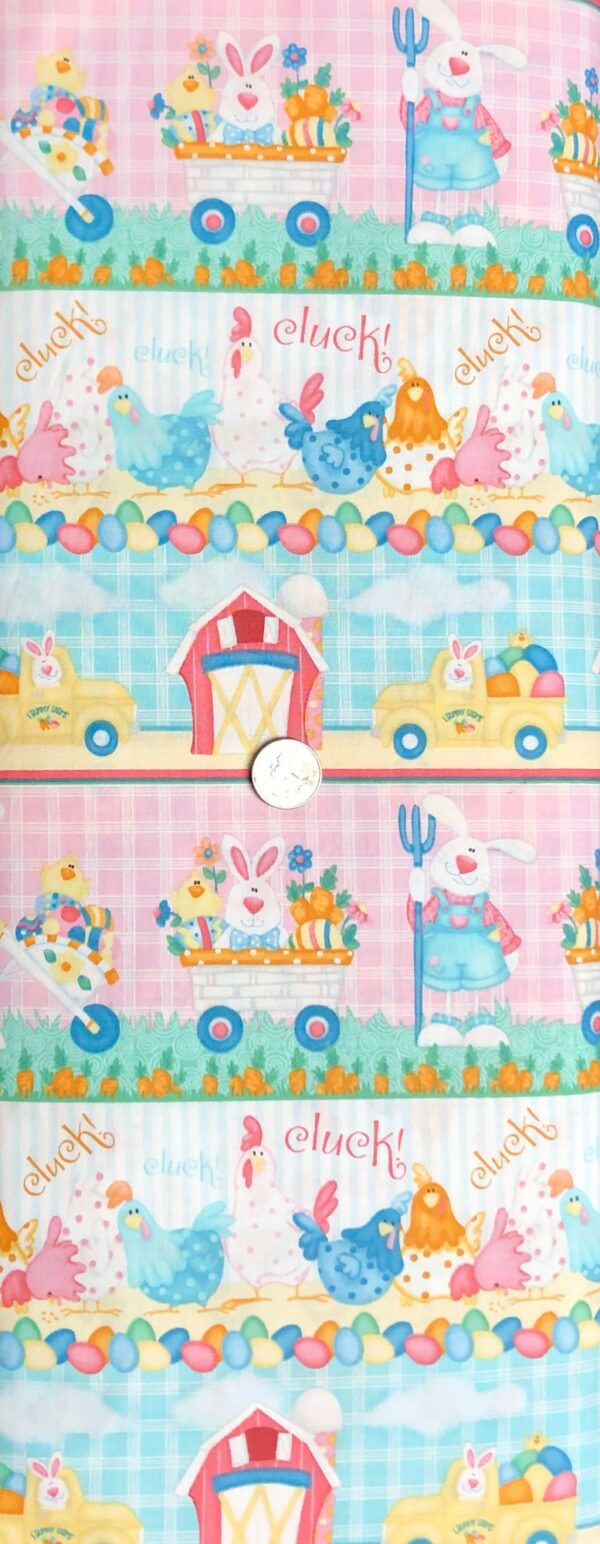 Easter bunnies, baskets, chickens and eggs in border print. Down on the Bunny Farm by Henry Glass 1846 - Fabric by the yard.