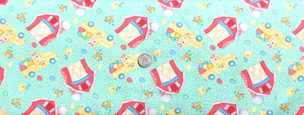Easter bunnies, trucks and barns all over green with dots. Down on the Bunny Farm by Henry Glass 1844 - Fabric by the yard.