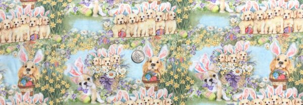 Easter puppies in a garden of flowers. Dog Bunnies allover. Springs Creative 19325 - Fabric by the yard.
