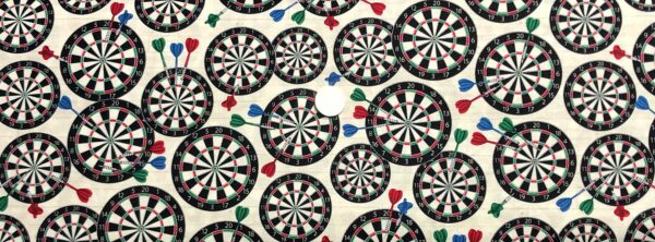 Dart boards and darts all over cream/white woodgrain look. Man Cave by Windham Fabrics 52413 - 4 Fabric by the yard.