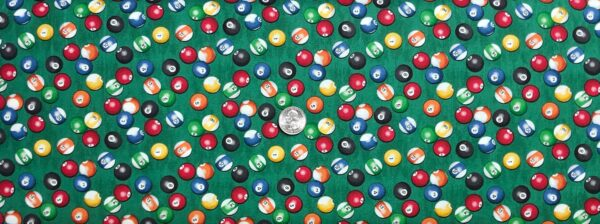 Billiard balls in color all over kelly green. Eight ball, Que ball. Man Cave by Windham Fabrics 52412 - 3 Fabric by the yard.