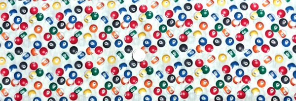 Billiard balls in color all over white. Eight ball, Que ball. Man Cave by Windham Fabrics 52412 - 4 Fabric by the yard.