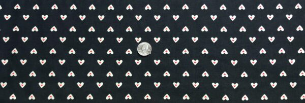 Valentines Day hearts, cream with red all over black. Romance by Clothworks Y2547 - 3 - Fabric by the yard