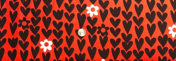 Valentines Day hearts and flowers in black and white all over. I Love You by Windham Fabrics 50851 - Fabric by the yard