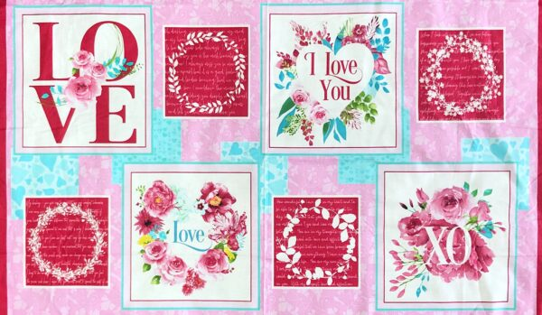 Valentines Day Love panel. Floral squares with lovely words. Pinks, aqua and green. Love Letters by Henry Glass - 5/8 yard panel