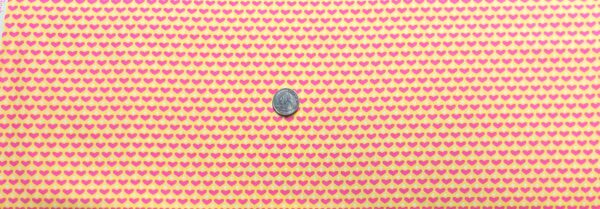 Valentines Day hearts and dots in rows on yellow. Pink hearts, white dots. Cutie Tootie by Henry Glass 1497 - Fabric by the yard