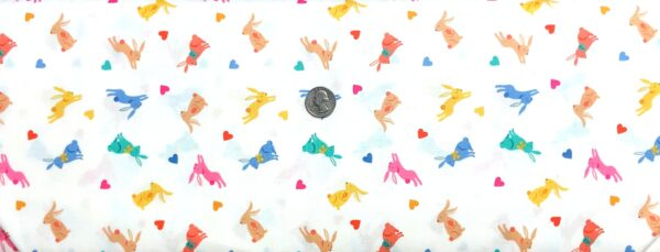 Easter Bunnies and hearts in pink, blue, green, yellow and more all over white. Spring by Makower 2189 - Fabric by the yard