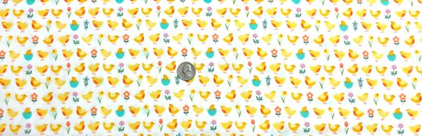 Easter chicks and flowers in pink, blue, green, yellow and more all over white. Spring by Makower 2191 - Fabric by the yard