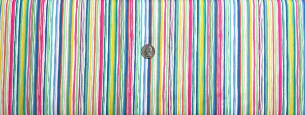 Multicolored uneven stripes. Pink, blue, green, orange, aqua, yellow and white. Spring by Makower 1899 - Fabric by the yard