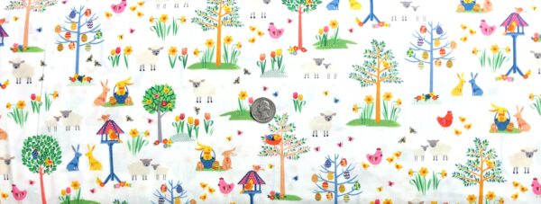 Easter bunnies, birds flowers and more all over white. Spring by Makower 2187 - Fabric by the yard